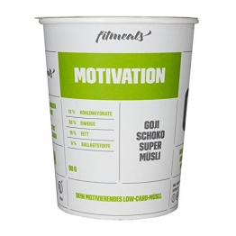 Fitmeals Motivation Super Müsli - Das Superfood mit Goji-Beeren, Ceylon Zimt und Guarana - Low Carb - Paleo - Vegan - 90 g To Go Becher - Birkenzucker statt Kristallzucker - 1